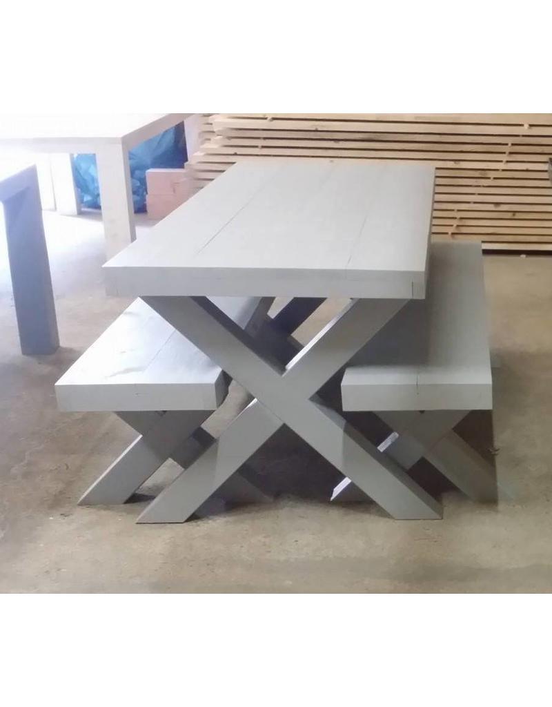 Bankje 50x45x60/300 zonder leuning, Houten X poten