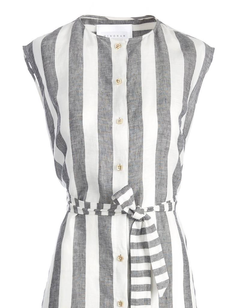 Striped Short Linen Dress