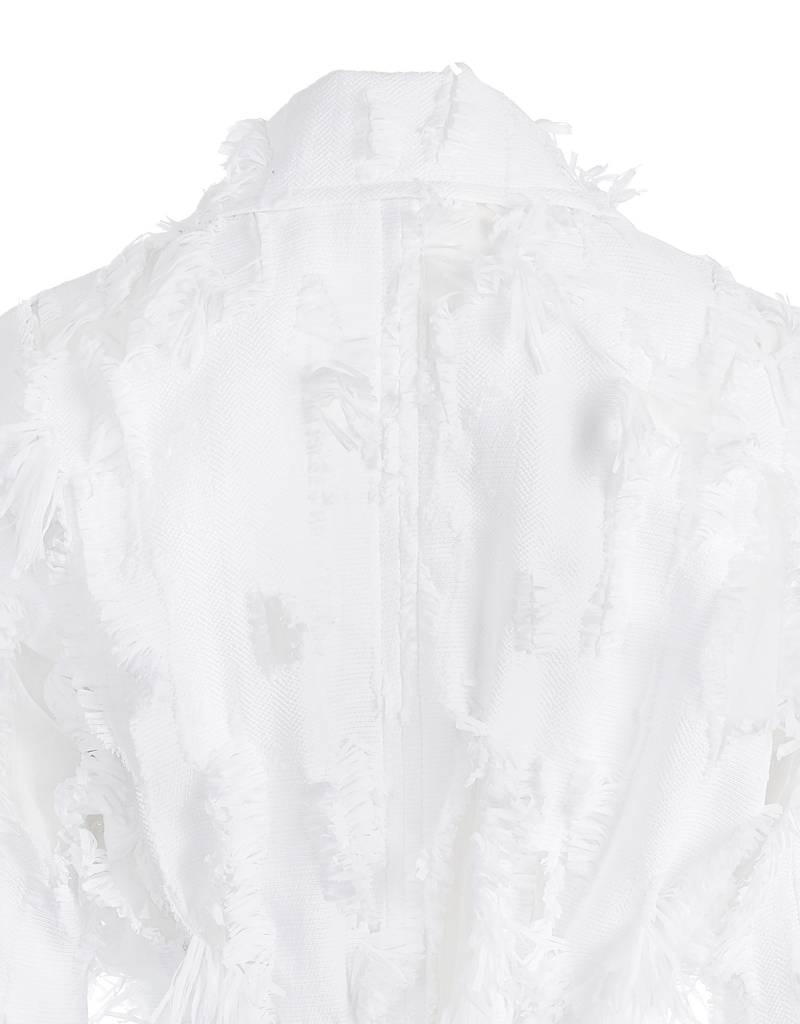 Raffled Parka White
