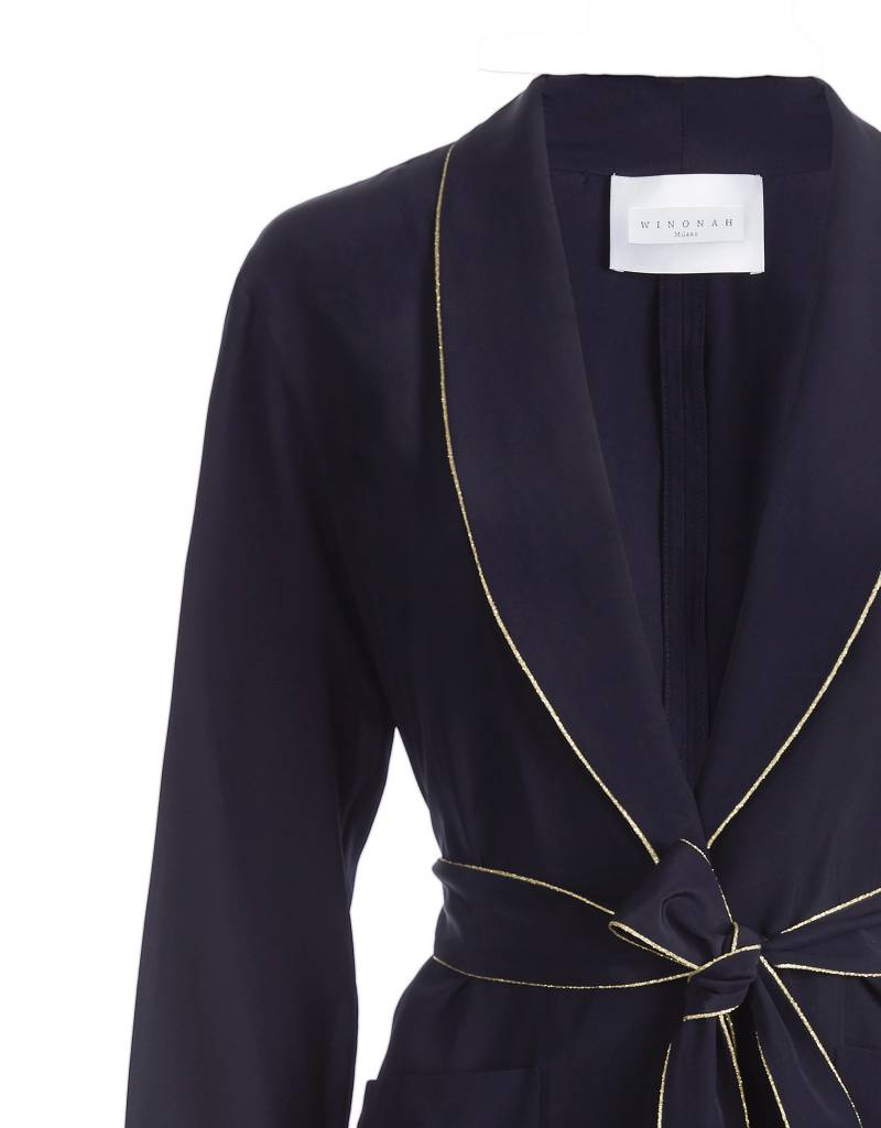 Silk Navy Blue Jacket