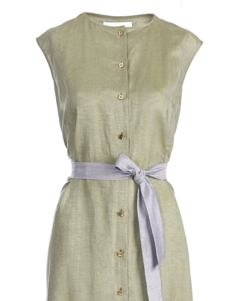 Olive Green Dress With Lilac Bow