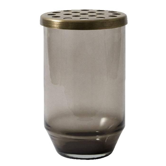Glazen vaas met metalen deksel • dusty black
