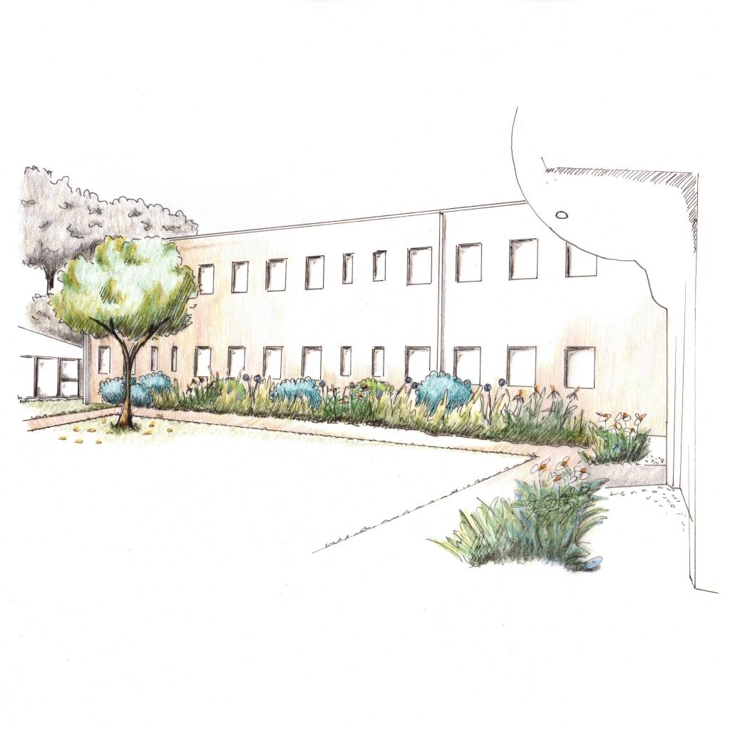 Tuinontwerp Emmaus Helvoirt • Rustbrengende Binnentuin