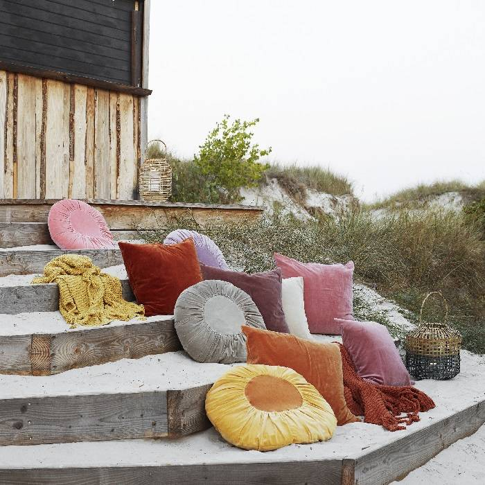 Rond velvet kussen in roze / licht mahonie: Ø 45 cm