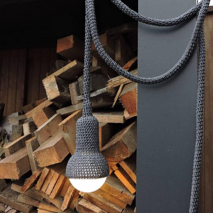 Handgemaakte Lampe Tuin: minerai / grijs