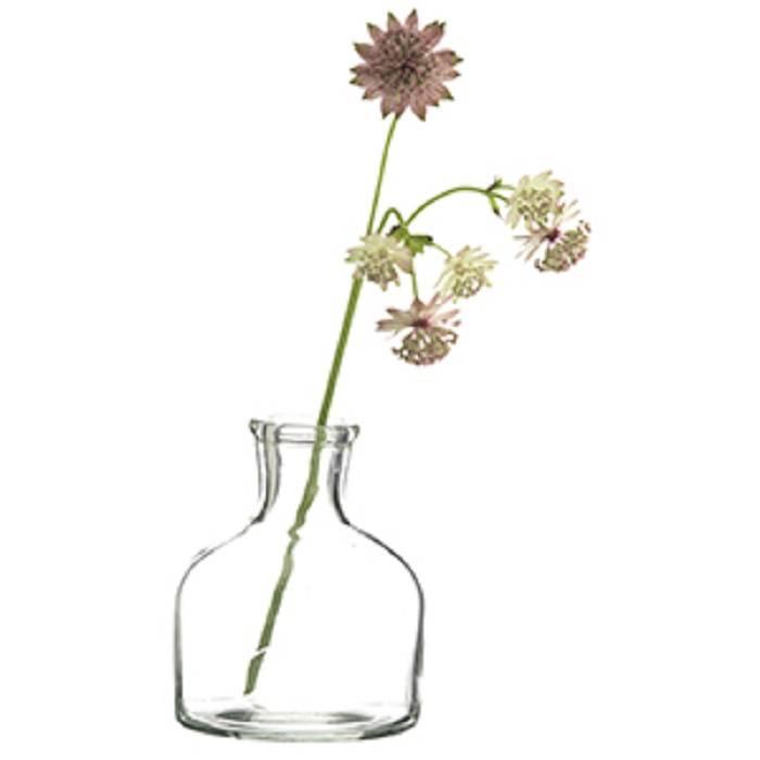 Lab flesje als lief bloemenvaasje: Ø 8 cm x 10 cm