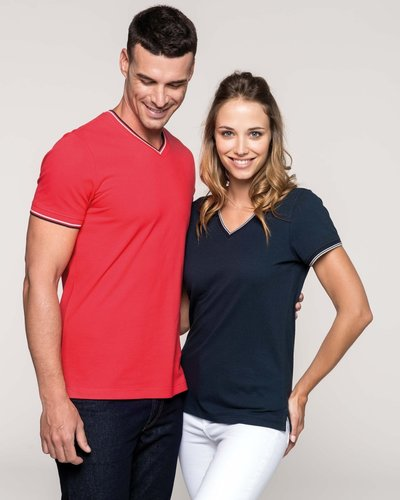 T-Shirt Katoen Pique V-Hals