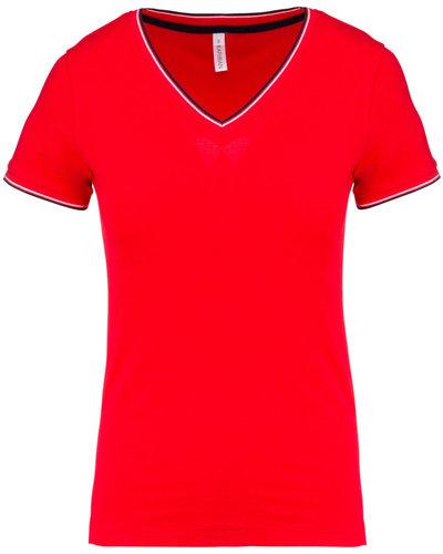 T-Shirt Katoen Pique V-Hals voor dames en heren