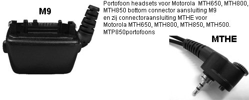 Portofoon headsets met MTHE of M9 connector