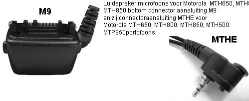 Luidspreker Microfoons met MTHE / M9 connector voor Motorola TETRA portofoons