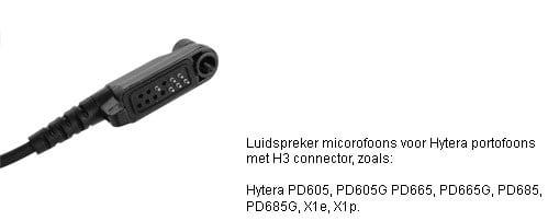 Luidspreker Microfoons met H3 connector Hytera  PD605 tm PD685 en X1 serie