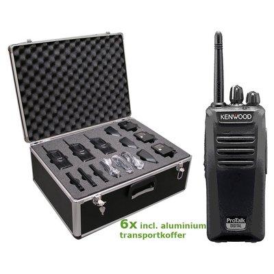 Kenwood TK-3401DE Protalk portofoonset (6 stuks) incl. transportkoffer