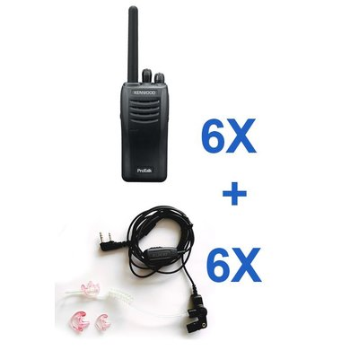 Kenwood TK-3501E protalk portofoonset (6 stuks) incl. headsets