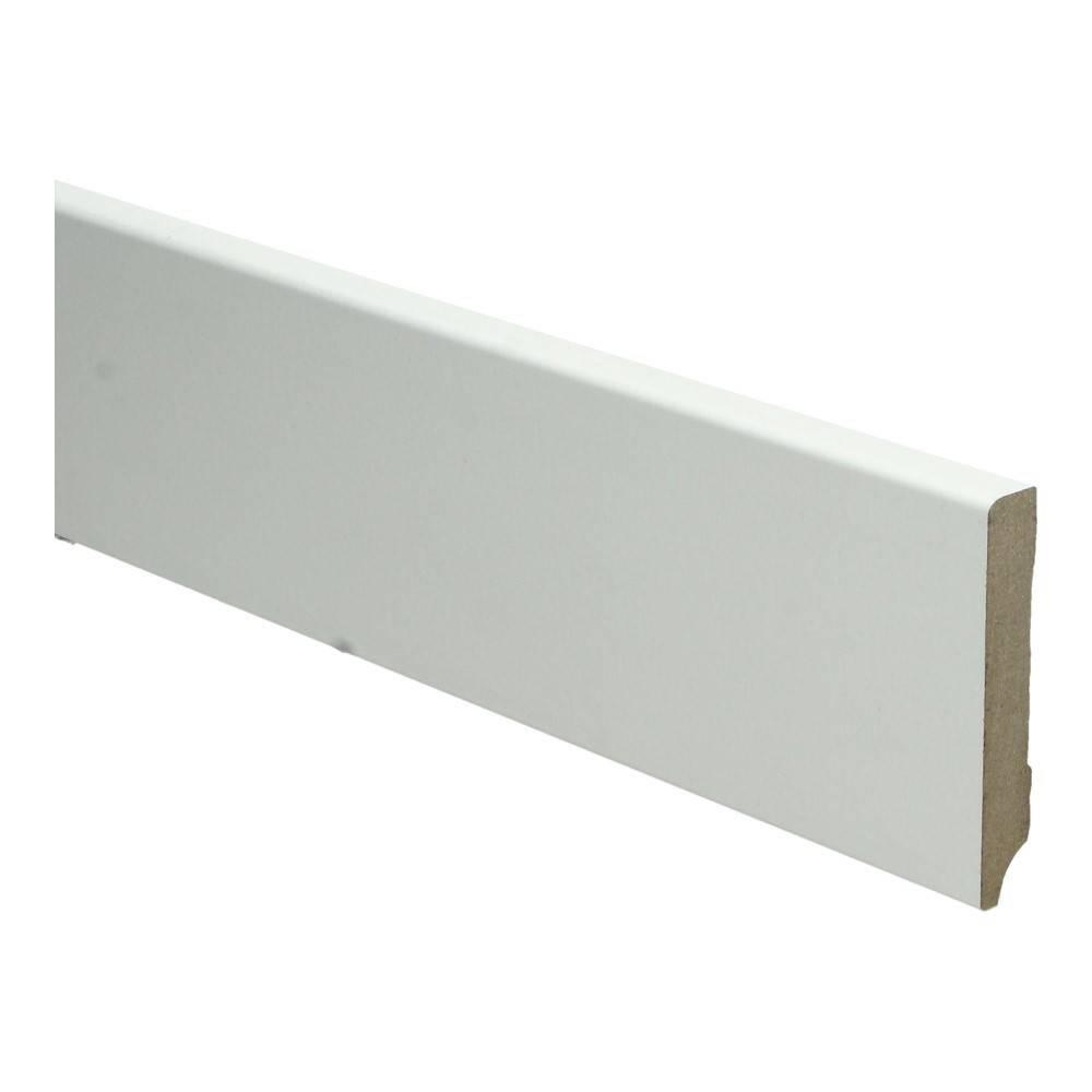 Basics4Home MDF Moderne Plint Recht 70/90/120x12x2400 Wit Voorgelakt RAL9010