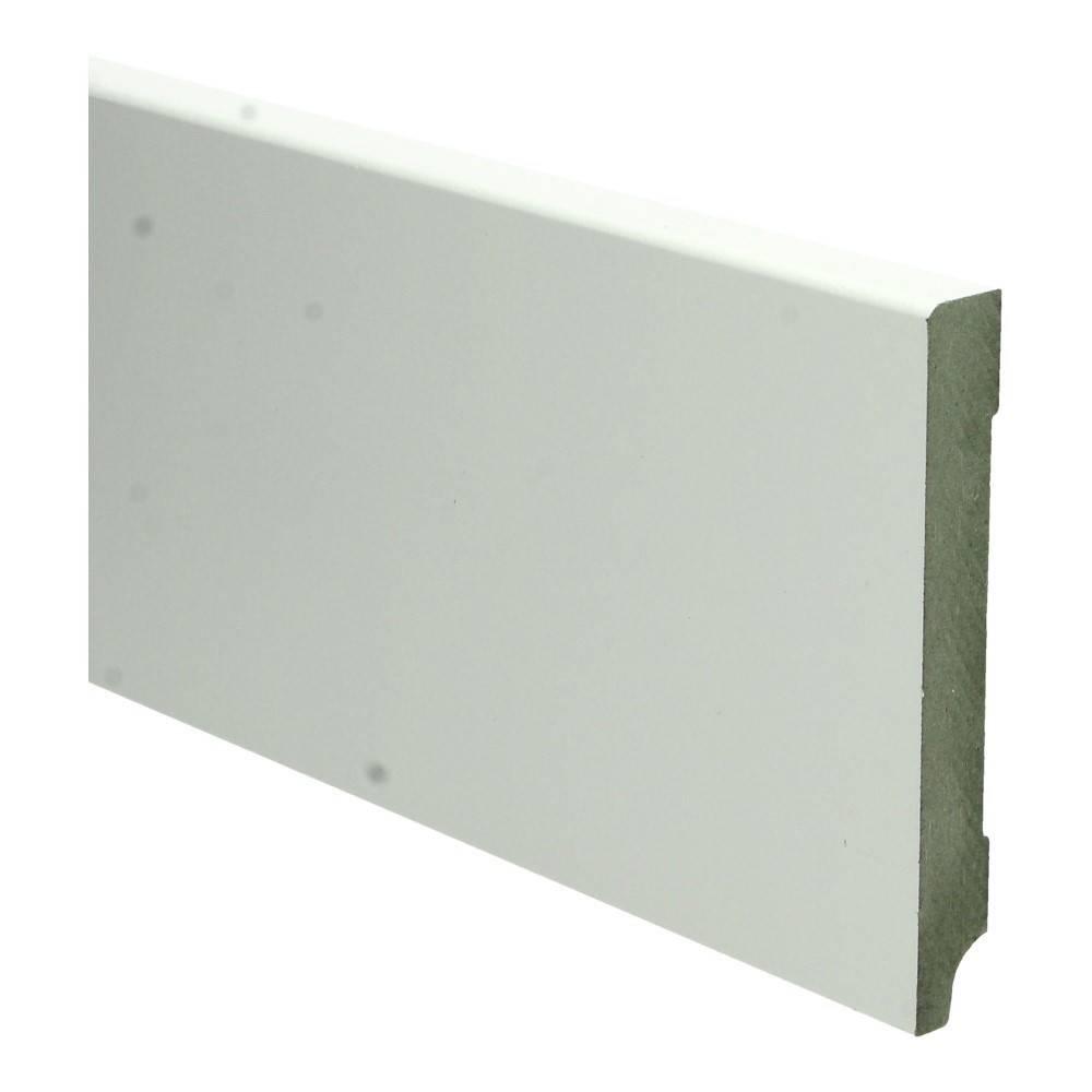 Basics4Home MDF Moderne Plint Recht (15 dik x 2400 lang)  Wit Voorgelakt RAL9010