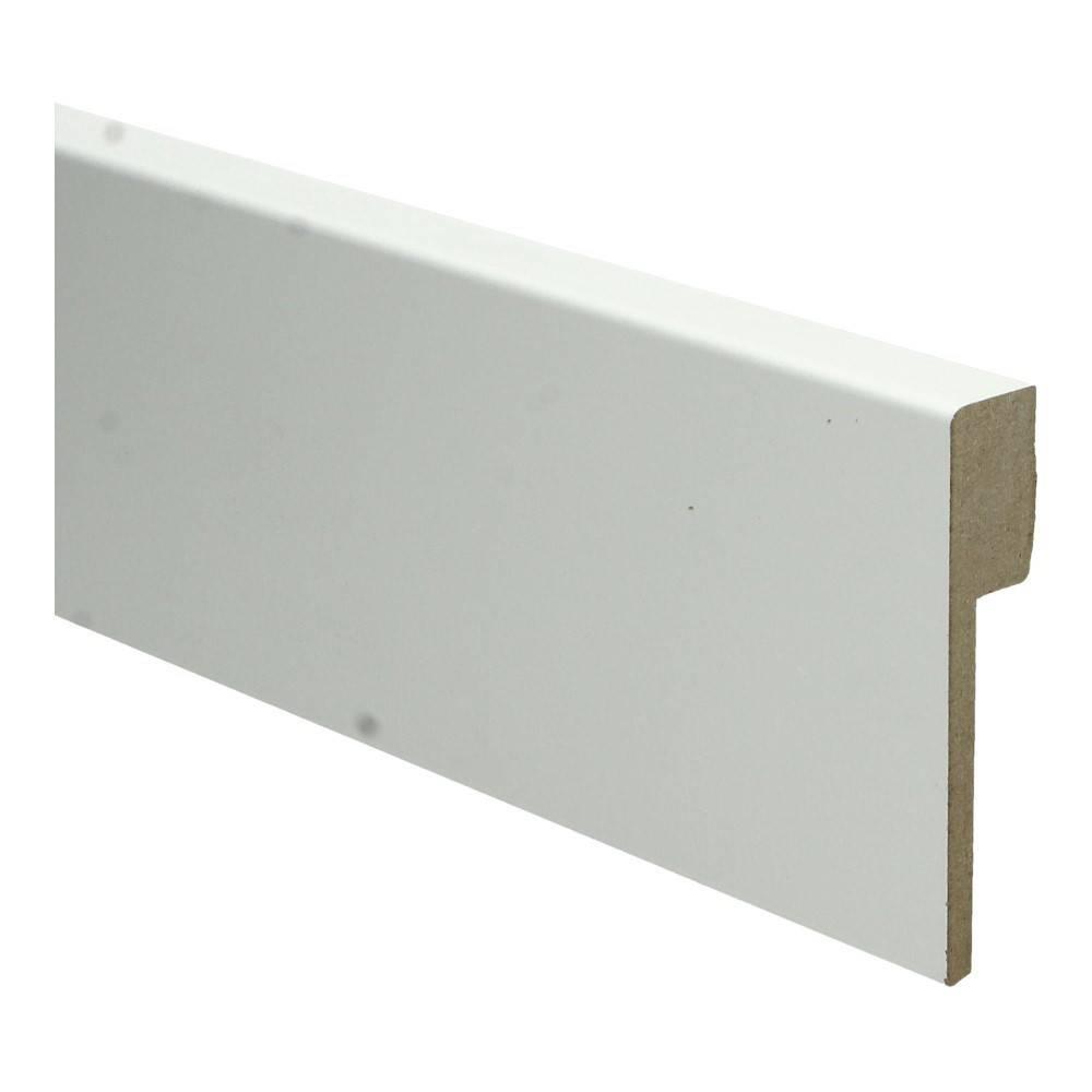 Basics4Home MDF Moderne Renovatie Plint Recht 90x18x2400 Wit Voorgelakt RAL9010