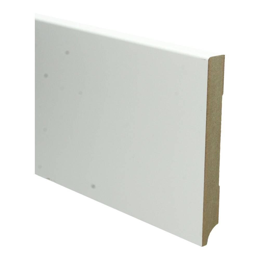 Basics4Home MDF Moderne Plint Recht 70/90/120/150/220x18x2400 Wit Voorgelakt RAL9010