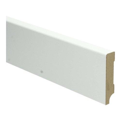 Basics4Home 9175 MDF Plint Recht Wit Gefolied 6 cm (14 dik x 2400 lang)