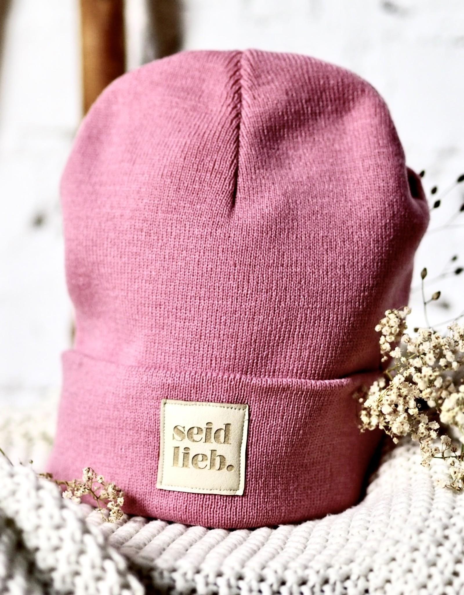 """seid lieb"" Beanie dusty pink"