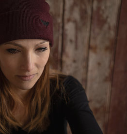 Motte Beanie bordeaux/ black moth
