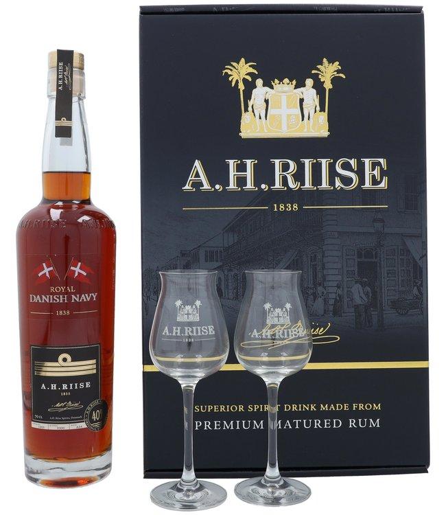 A.H. Riise Royal Danish Navy + 2 Glasses