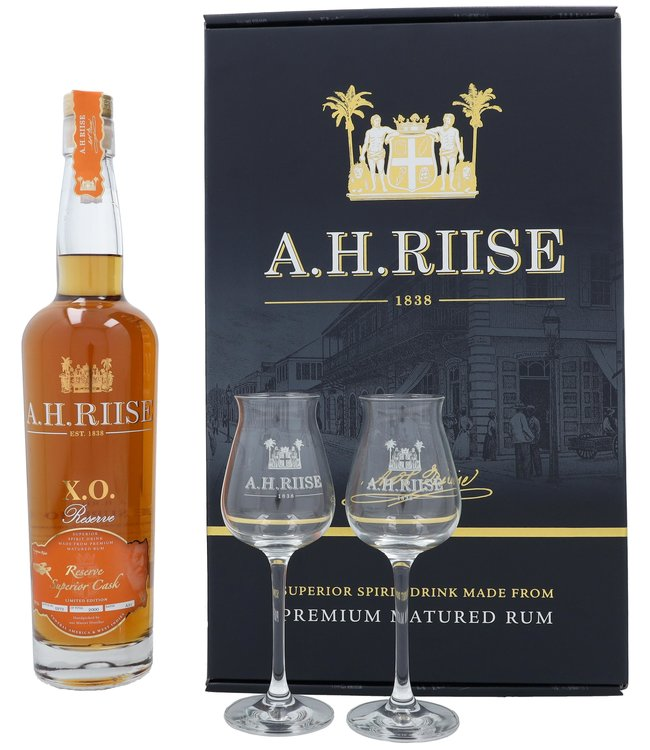 A.H. Riise XO Reserve Superior Cask + 2 Glasses