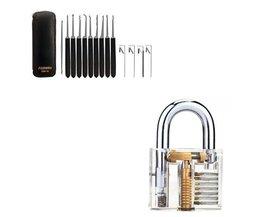 Lockpicking-Set 14-teilig von SouthOrd + transparentes Übungsschloss