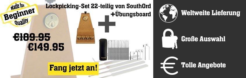Lockpicking-Set 22-teilig von SouthOrd + Übungsboard +