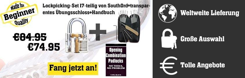 Lockpicking-Set 17-teilig von SouthOrd + transparentes