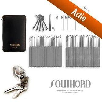 SouthOrd Actie - 74-delige Lockpick Set Slim-line + Oefenslot