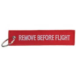"JS Sleutelhanger met Tekst ""Remove Before Flight"""