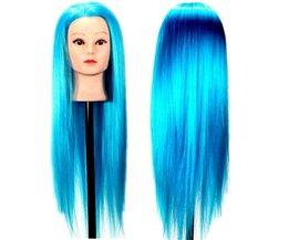 Oefenhoofd Kapper met Blauw Haar