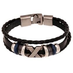 J&S Supply Leren Armbandje met Metalen Kralen