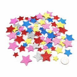 Supply Foam Stickers Glitter Hartjes Bloemen Sterren 30Stuks