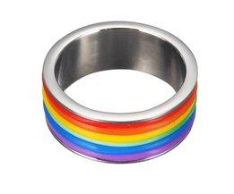 Regenboog Ring 9mm Breed van Titanium
