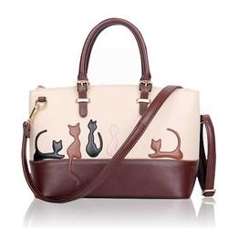 Supply Bruin-Witte Dames Handtassen met Kat of Konijn Patroon