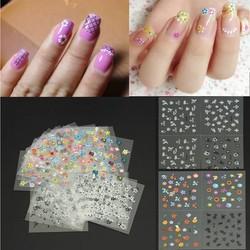 DIY Kleurrijke Nail Art Stickers Tips met Bloem Design