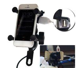 Universele 12 V Motorfiets Mobiele Telefoon & GPS Mount Houder X Grip Clamp met USB Lader 5 V/2A Voor Elektrische Fiets Scooter ATV