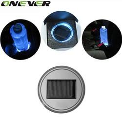 MyXL Universele Auto Styling Zonne-energie Energie Blauw LED Auto-interieur Decoratie Licht Cup Coaster Mat Antislip Pad Auto-accessoires