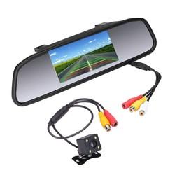 """MyXL Podofo 4.3 """"auto Achteruitkijkspiegel Monitor Achteruitrijcamera TFT-CCD Video Auto Parking Kit 4 LED Nachtzicht Achteruitrijcamera Auto-styling"""