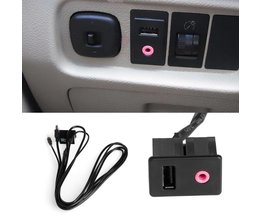 GloedAuto 3.5mm USB AUX Hoofdtelefoon Mannelijke Jack Flush Mount Montage Adapter Panel Ingang