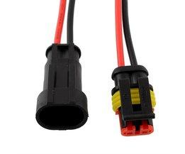 Vehemo5 set 2 Pin Auto Auto Voertuig Waterdichte Elektrische Connector Adapter W/Draad AWG Zwart