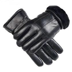 MyXL ValpeakWinter Handschoenen Mannelijke Dikke Schapenvacht Mens Lederen Handschoenen Mannelijke Warm Houden Zwart Lederen Kasjmier Bont Handschoenen