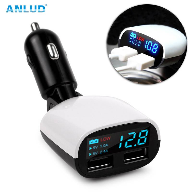 ANLUD Universele Dual USB Autolader LED Scherm voor iPone Android Mobilephone iPad Charger 3.4A Cars
