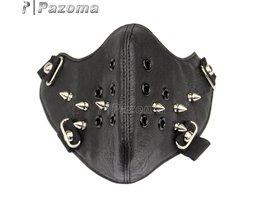 Zwarte Mode Metalen Bezaaid Steampunk Biker Mannen Motorcycle Half Gezicht Lederen Masker Airsoft Winddicht Cool