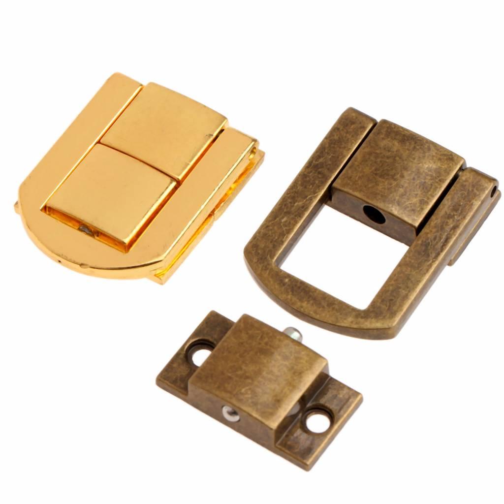 1 St 30x24mm Antiek Brons-Gouden Doos Hasps Metalen Slot Vangst Vergrendelingen voor Sieraden Borst