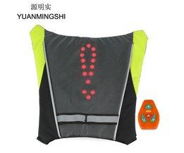YUANMINGSHI Motorfiets Reflecterende Veiligheid Vest LED Rugzak Vest Pilot Lamp Fietsverlichting + Motorbike Fietsen Reflecterende LED Vest