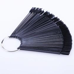 MyXL 50 Stks Zwart Nail Kleur Kaart Valse Nail Tips DIY Fan Vorm Manicure Nail Art Praktijk Display Gereedschap