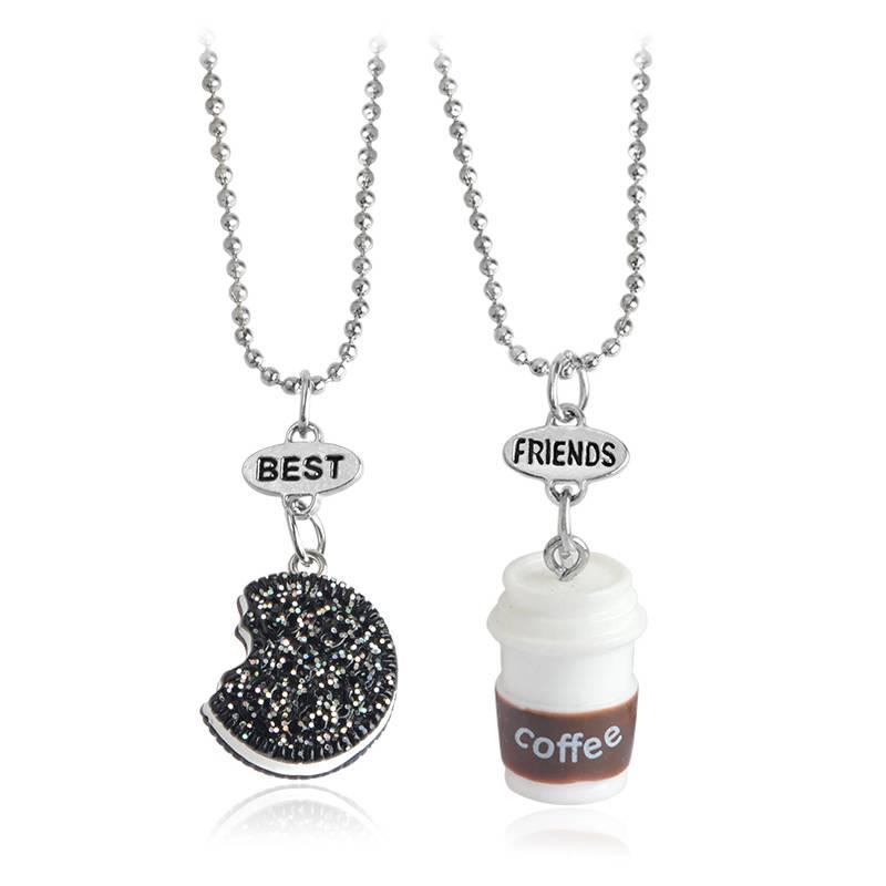 2 stks-set Miniatuur Oreo Koekjes & Koffie Hanger Ketting Voor Vrouwen Mannen Beste Vrienden BFF Ver