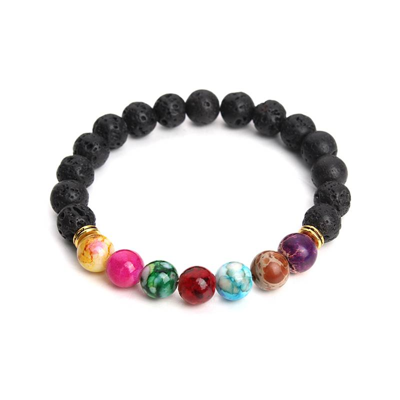 Muti-kleur Ontwerp Mens Armbanden Black Lava 7 Chakra Healing Balans Kralen Armband Mannen Vrouwen P